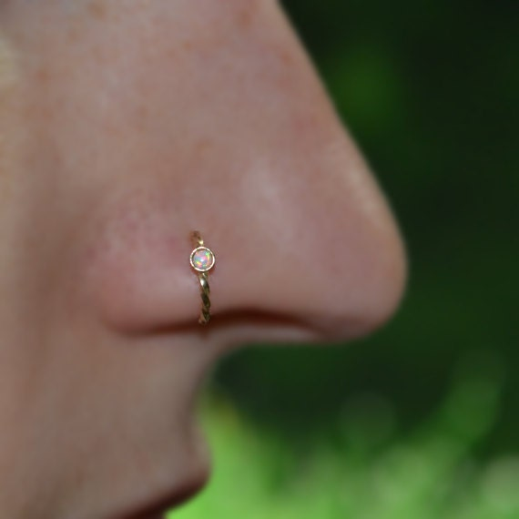 Nose Ring Hoop - Gold Nose Stud - Helix Piercing - Tragus Jewelry - Cartilage Earring - Septum 16g - Rook Earring - White Opal Nose Piercing