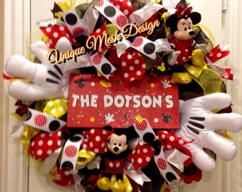 Mickey Mouse Wreath, Mickey Mouse, Disney Wreath, Welcome Wreath Mickey Mouse Birthday Themed