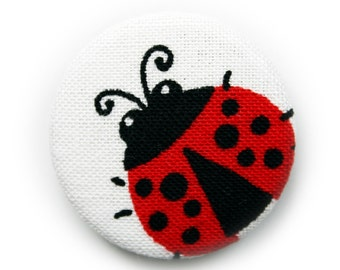 Pinback Button or Magnet Ladybugs