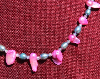 Pink and blue pearl necklace and earring set