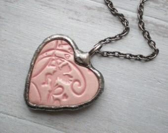 Statement pendant pink heart pendant pink ceramic pendant pink stone necklace pink jewellery handmade jewellery AWillam