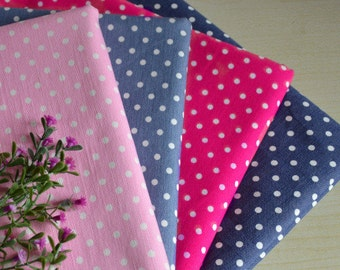 145cm / 57 inch Width, Polka Dotted Stretch Denim Fabric, Half Yard