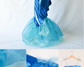 Mermaid Tail Costume with top & tail for little sea sirenes in blue lycra, tulle and organza - for dress-up, Carnival, Halloween, Mardi Gras