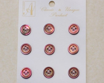 Red Mother of Pearl Buttons. Set of 9. TRSR18L#17/4H