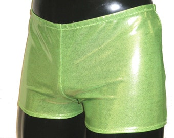 Mens Stretch Low Rise Hotpants/Shorts S SMALL 26-28 inch Metallic Neon Green Club/Dance/Festival/Swim Burning Man Pride Yoga
