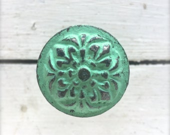 Decorative Knobs - Drawer Knobs - Decorative - Cabinet Knobs - Drawer Knobs - Dresser Knobs - Decorative - Metal - Decorative - Turquoise