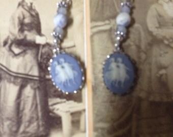 BLUE DANCERS cameo vintage assemblage earrings