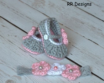 Soft Gray, Light Pink and White Mary Jane Slippers with matching Headband Set