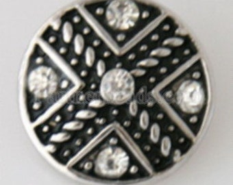 KB7524 Antiqued Silver Cross w 5 Clear Crystals