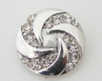 KB7426 Silver Swirl Accented w Clear Crystal Swirls Set on Black Enamel