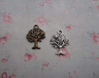 2 colors choice , set of 20 , metal tree charm , metal tree pendant , 22x17mm , MPC3490-20