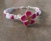 Pink Plumeria Flower Hemp Bracelet, White Hemp, Adjustable Bracelet, Gift for Her, Valentine's Gift, Free Shipping in USA