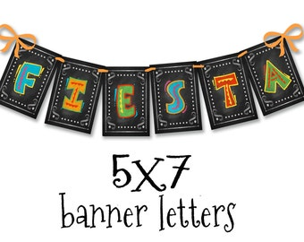 Printable Banner Fiesta Cinco De Mayo Chalkboard Style Party Sign - diy downloadable file - party decorations  Fiesta birthday or grad decor
