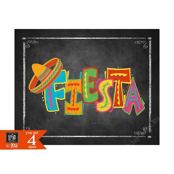 printable fiesta party chalkboard sign fiesta by psprintables