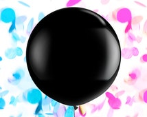 "Gender Reveal Confetti Balloon - 36"" Jumbo Round Black Balloon - Hot Pink Peach Coral Gold Blue Mint Aqua Navy Baby Shower Announcement"