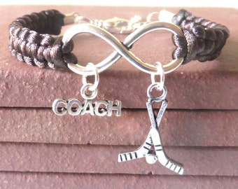 Hockey Coach Athletic Charm Infinity Bracelet Coach Charm You Choose Your Cord Color(s)