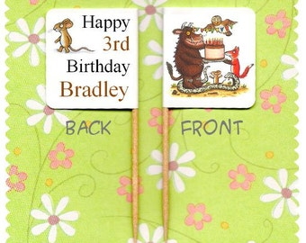 20 PERSONALISED THE GRUFFALO Birthday Cup Cake Flag Toppers