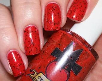 Lady Luck,indie nail polish, red nail polish, nail polish, 5 free nail polish, red glitter nail polish, black glitter, silver glitter, poker