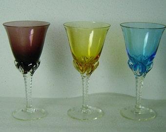 3 Art Nouveau handblown glasses for Sherry or wine