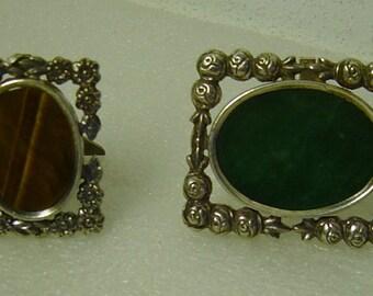 2 silverplate foto frames with gemstones Tigers Eye and  Jade