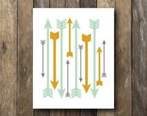 Arrow Art Print - Instant Download - Tribal Home Decor - Tribal Wall Art - Mustard Home Decor - Tribal Nursery Print - Arrows Printable
