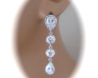 Crystal Bridal Earrings Wedding Jewelry Cubic Zirconia Teardrop Earrings Bridal Jewelry