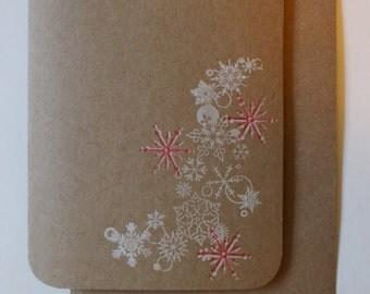 Candy cane Christmas Card - sweet snowflakes : «Joyeux Noël» à l'intérieur