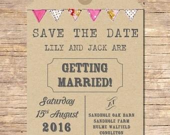 25 x Rustic Wedding Save the Dates, Wedding Stationery, Outdoor Wedding, Bunting, Wedding Invitation Suite, Invitation Set, Kraft