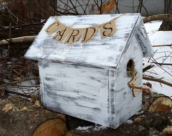 Distressed Wooden Birdhouse Wedding Card Box, Woodland Wedding Card Box, Birdhouse Wedding, Rustic Wedding Decor, Unique  Wedding Card Box