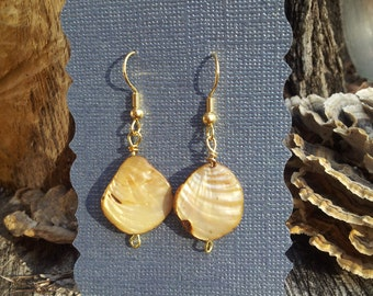 Mother of Pearl and gold dangle earrings