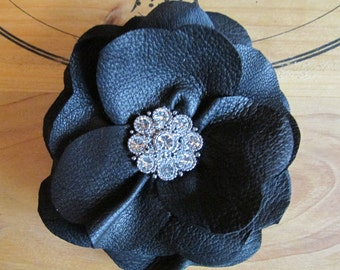 Black leather flower with diamante centre, leather hair flower, black leather corsage flower, goth, quirky corsage, handmade  Ruby62 UK