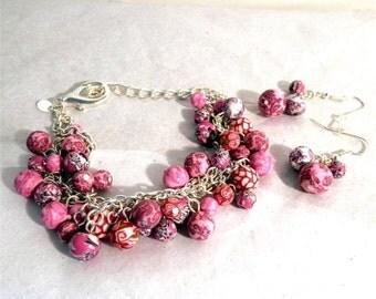 Viva Beads Pink Paradise Bracelet Earring Set Silver Tone 2 Strands of Beads