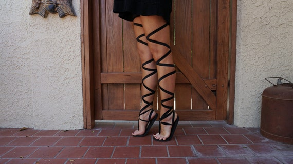 Thigh High Lace Up Gladiator Sandals in Black- Women's Sandals-Boho Sandals-Vegan Sandals