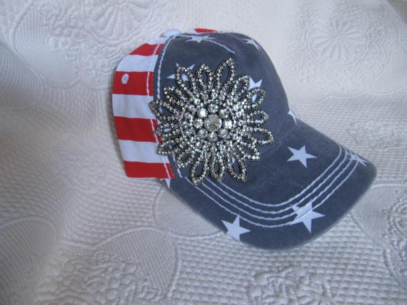 hat womens hats trucker bling hat 4th of july hat sparkle