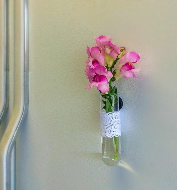 Test tube flower vase magnet shabby chic bud vase for Test tube flower vase rack
