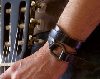 Black Unisex Leather Bracelet - Leather Wristband - Handmade Bracelet - For Him - For Her