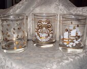 Vintage Christmas Glasses with Gold Trim Set of 6