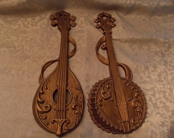 """Vintage """"Sexton"""" Banjo and Mandolin Regency Style Gold Cast Metal wall Hangings"""