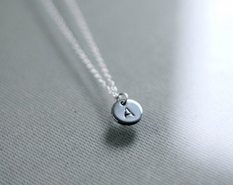 Tiny Stamped Initial Necklace - New Mom Gift - Mother Gift - Mother's Necklace - Hand-stamped 8mm Initial Necklace - Bridesmaid Gift