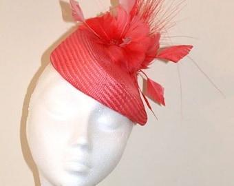 Coral Fascinator / Wedding hat
