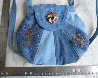 Denim Jeans  Purse bag handbag butterfly
