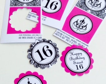 Sweet 16 Hot Pink Chandelier Birthday Printable Cupcake Toppers Sticker Labels and Party Favor Gift Tags by SUNSHINETULIPDESIGN