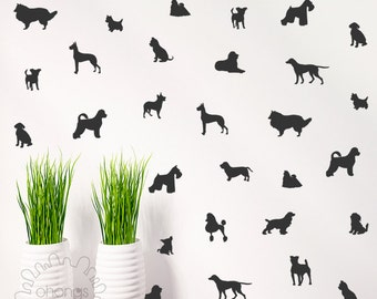 Dog Wall Decal / Doggie Decal / 36 Dogs Pattern Wall Decal / Kids Room Decal