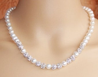 Bridal necklace rhinestone,freshwater pearl necklace wedding,pearl and crystal necklace,bridesmaid necklace jewelery gift,pearl choker,