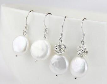 Coin pearl earrings,flat coin pearl earings,12-13mm,white freshwater pearl earrings,sterling silver bridal earrings,bridesmaid earrings