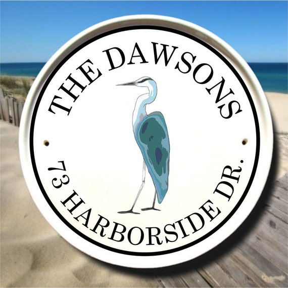 Personalized Beach House Plaques: Bird Lover Gift / Address Sign / Personalized Beach Signs
