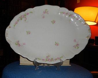 Circa 1900 Wm Guerin &Co Limoges, France Porcelain Hand Painted Rose Serving Platter