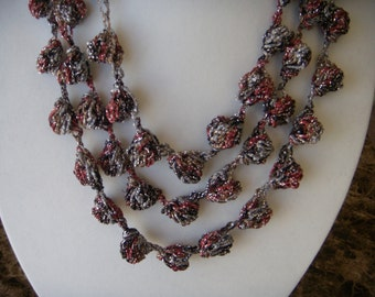 Three/Four Tier Red/Black/Silver Sparkle Bobble Necklace