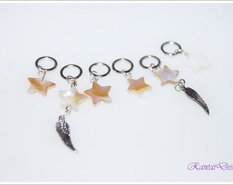 stitchmarker yarn lovers shell stars wings MoP stitchmarker set of 6