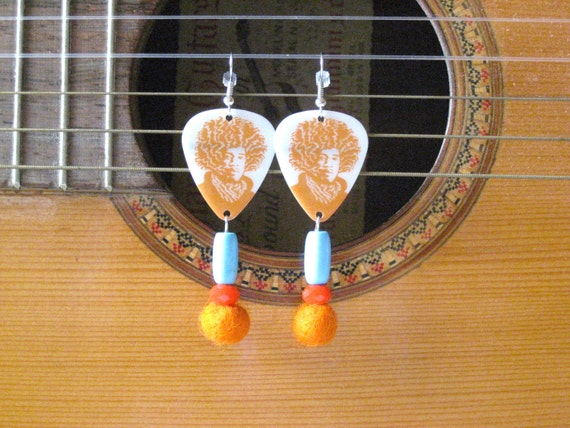 jimi hendrix orange and turquoise guitar pick earrings. Black Bedroom Furniture Sets. Home Design Ideas